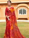 image of Festive Wear Satin Fabric Red Color Fancy Bandhej Print Saree