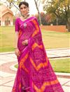 image of Satin Fabric Festive Wear Fancy Bandhani Print Magenta Color Saree