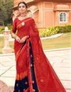 image of Satin Fabric Festive Wear Fancy Bandhani Print Red Color Saree