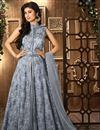 image of Mouni Roy Floor Length Designer Net Anarkali Suit in Grey Color