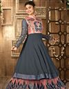 photo of Mouni Roy Floor Length Georgette And Net Anarkali Salwar Suit in Grey And Peach Color