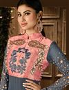 picture of Mouni Roy Floor Length Georgette And Net Anarkali Salwar Suit in Grey And Peach Color