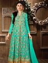 image of Mouni Roy Georgette And Santoon Sharara Top Lehenga in Sea Green Color