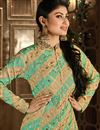 photo of Floor Length Georgette Anarkali Suit in Beige And Sea Green Color Featuring Mouni Roy