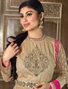 photo of Mouni Roy Floor Length Designer Net Anarkali Suit in Beige Color