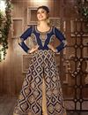 image of Navy Blue Color Embroidered Anarkali Suit in Georgette Fabric Featuring Mouni Roy