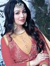picture of Ayesha Takia Featuring Designer Beige And Pink Color Anarkali Style Embroidered Gown In Silk Fabric