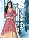 image of Ayesha Takia Featuring Designer Beige And Pink Color Anarkali Style Embroidered Gown In Silk Fabric