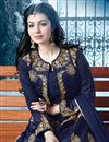 photo of Ayesha Takia Featuring Ravishing Navy Blue Color Silk Fabric Jacket Style Designer Anarkali With Embroidery Design