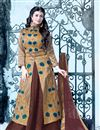 image of Beautiful Ayesha Takia Featuring Brown And Beige Color Embroidered Party Wear Sharara Top Lehenga In Silk Fabric