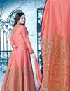 picture of Lavishing Peach Color Embroidered Silk Fabric Long Anarkali Salwar Suit Featuring Ayesha Takia