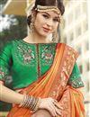 photo of Function Wear Silk Fabric Trendy Orange Color Weaving Work Saree
