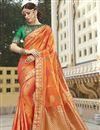 image of Function Wear Silk Fabric Trendy Orange Color Weaving Work Saree