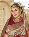 photo of Silk Fabric Trendy Function Wear Beige Color Weaving Work Saree