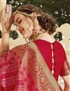 photo of Silk Fabric Function Wear Trendy Pink Color Weaving Work Saree