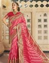 image of Silk Fabric Function Wear Trendy Pink Color Weaving Work Saree