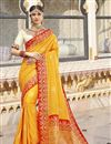 image of Function Wear Yellow Color Trendy Weaving Work Saree In Silk Fabric