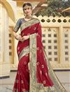 image of Silk Fabric Function Wear Trendy Maroon Color Weaving Work Saree