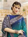 photo of Cyan Color Trendy Function Wear Silk Fabric Weaving Work Saree