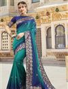 image of Function Wear Cyan Color Trendy Weaving Work Saree In Silk Fabric