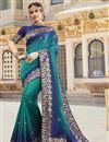 image of Cyan Color Trendy Function Wear Silk Fabric Weaving Work Saree