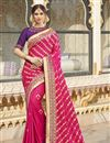 image of Function Wear Rani Color Trendy Weaving Work Saree In Silk Fabric