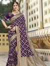 image of Function Wear Silk Fabric Trendy Purple Color Weaving Work Saree