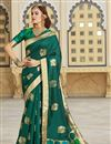 image of Function Wear Silk Fabric Trendy Weaving Work Saree In Teal Color