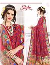 photo of South Indian Style Red Color Art Silk Fabric Designer Saree With Weaving Work