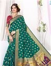 image of Ready To Ship Festive Wear South Indian Style Green Color Saree In Art Silk Fabric