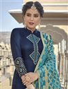 photo of Function Wear Navy Blue Georgette Embroidered Straight Cut Suit With Fancy Dupatta