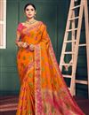 image of Orange Festival Wear Fancy Art Silk Weaving Work Saree