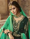 photo of Dark Green Fancy Georgette Function Wear Designer Sharara Suit With Embroidery