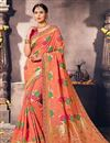 image of Designer Fancy Silk Peach Color Pooja Wear Traditional Saree