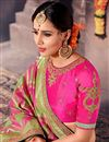 photo of Fancy Silk Designer Green And Pink Color Traditional Puja Wear Saree