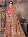 image of Fancy Silk Designer Green And Pink Color Traditional Puja Wear Saree