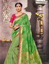 image of Designer Fancy Silk Green Color Pooja Wear Traditional Saree