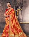 image of Designer Fancy Silk Red And Orange Color Traditional Puja Wear Saree