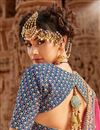photo of Fancy Embroidered Net Wedding Lehenga In Blue With Designer Choli