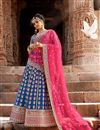 image of Fancy Embroidered Net Wedding Lehenga In Blue With Designer Choli