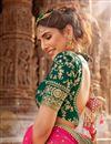 photo of Net Fabric Dark Green Color Reception Wear Lehenga Choli With Embroidery Work