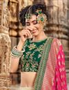 photo of Jacquard Fabric Designer Bridal Lehenga With Embroidery Work On Cream Color