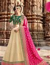 image of Jacquard Fabric Designer Bridal Lehenga With Embroidery Work On Cream Color