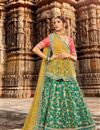 image of Embroidered Wedding Wear Lehenga Choli In Net Fabric Teal Color