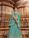 image of Turquoise Color Sangeet Wear Lehenga With Embroidery Work In Net Fabric