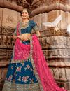 image of Embroidery Work On Wedding Wear Bridal Lehenga In Net Fabric Blue Color With Blouse