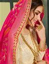 photo of Embroidered Wedding Wear Designer Fancy Fabric Cream Lehenga Choli
