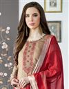 photo of Festive Wear Fancy Viscose Fabric Embroidered Palazzo Suit In Dark Beige