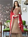 image of Festive Wear Fancy Viscose Fabric Embroidered Palazzo Suit In Dark Beige