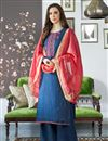 image of Fancy Festive Wear Viscose Fabric Embroidered Blue Palazzo Dress
